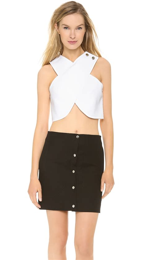 cross crop top carven cross front crop top white in white lyst