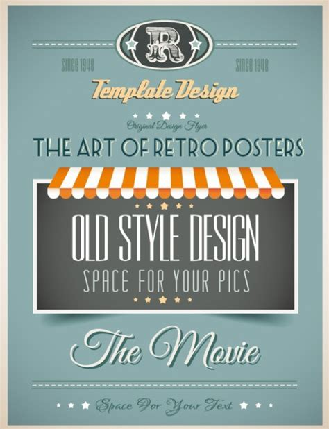 free vintage promotional poster vector template design 05