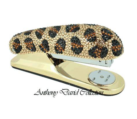 Leopard Desk Accessories 6 Pc Executive Desk Accessory Set With Swarovski Crystals Leopard Ebay