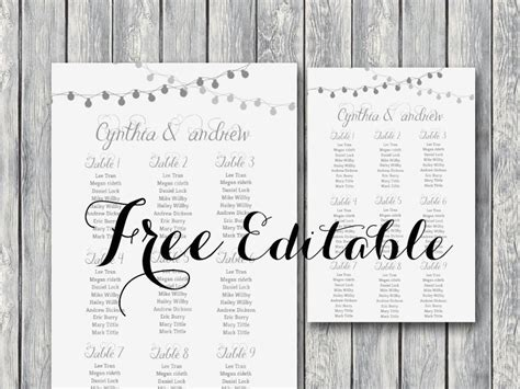 Free Editable Wedding Seating Chart Template Printable Night Lights Wedding Free Printables Wedding Seating Chart Template Printable