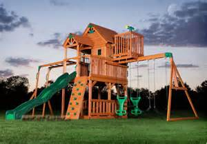 Backyard Kids Playsets Outdoor Wooden Swing Set Toy Playhouse Playset With Slide