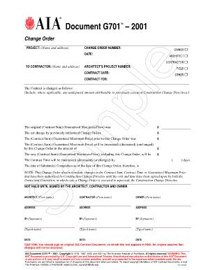 Change Order Form Aia Templates Fillable Printable Sles For Pdf Word Pdffiller Aia Contract Template