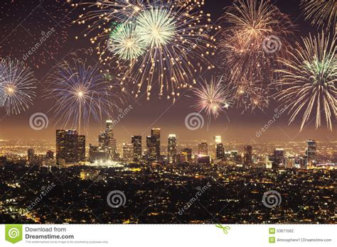 new year los angeles events polaroid of downtown los angeles cityscape with fireworks