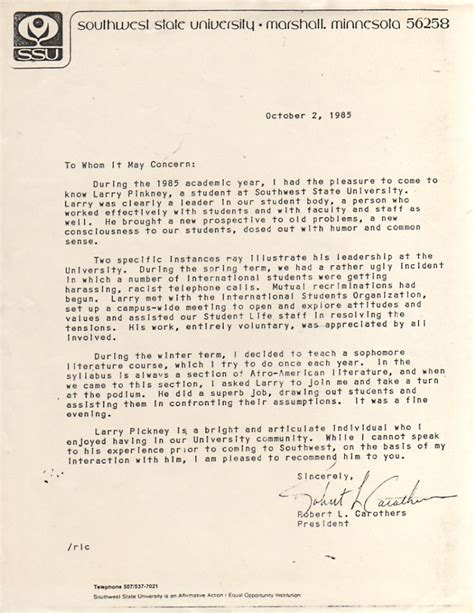 Recommendation Letter For From Politician Letter Of Recommendation From President Of Southwest State Larry Pinkney Archives