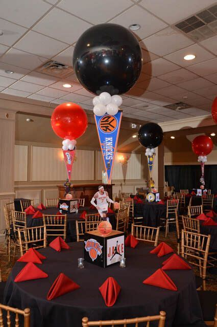 sports themed centerpieces basketball themed bar mitzvah