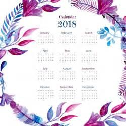 Calendario 2018 Vector Gratis Calendario 2018 Con Plumas En Acuarela Descargar