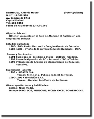Modelo De Curriculum Ministerio De Trabajo Pr 225 Cticas De Lengua Y Literatura Abril 2009