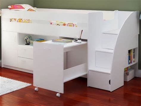 White Mid Sleeper Bed by Oak Or White Childrens Mid Sleeper Beds Midsleeper Cabin