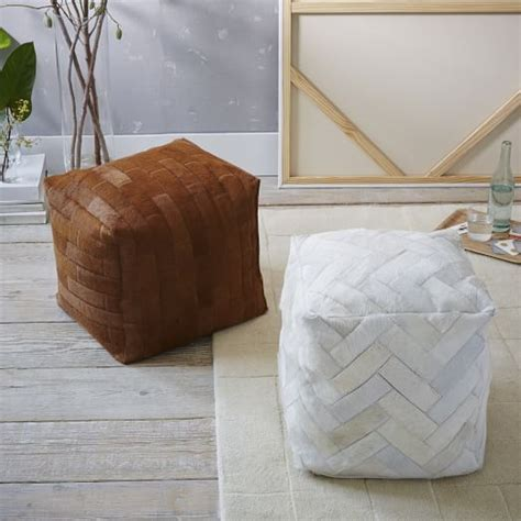 west elm cowhide rug pieced patched cowhide pouf square west elm
