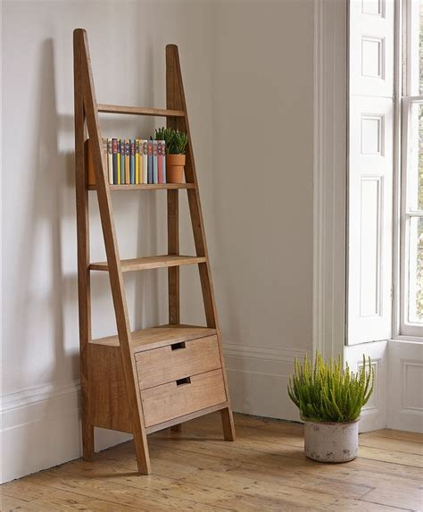 Natural Polished Teak Wood Rustic Wall Ladder Bookshelf Ladder Bookcase
