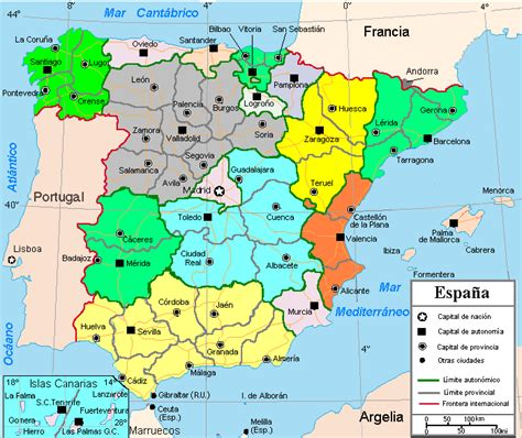 espana map map of spain region political map of spain tourism region and topography