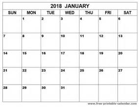Jan 2018 Calendar Printable January 2018 Calendar Printable