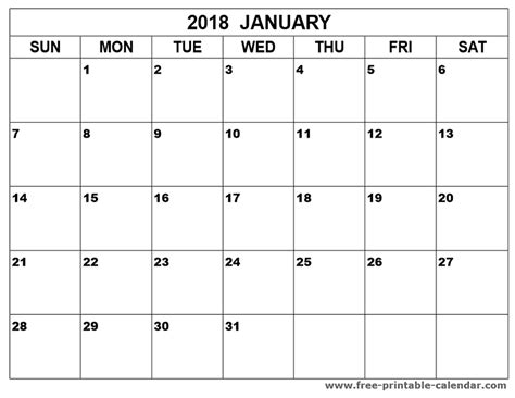 printable free january 2018 calendar january 2018 calendar printable