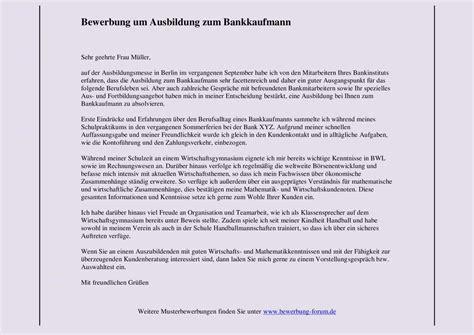 Bewerbung Anschreiben Muster Bankkaufmann Bankkaufmann Bewerbung Um Ausbildung Muster Und Tipps