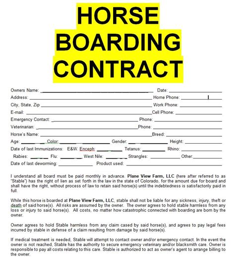 Horse Boarding Contract Sle Template Form In Doc Word Sle Contracts Contract Boarding Contract Template