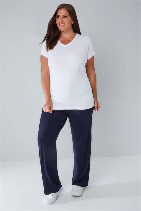 Leg 200 Medium Size Ekman Grab Sler Bottom Grab Sler navy wide leg pull on stretch jersey trousers plus size 16 to 36