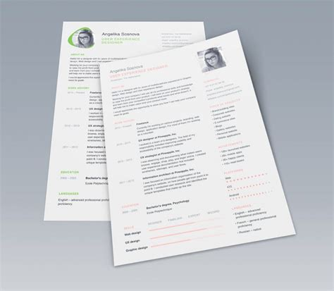 X Clean Resume Free by Clean Ui Designer Resume Template Free Psd