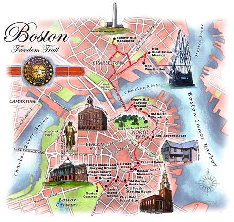 freedom trail boston map boston battles tea massacres