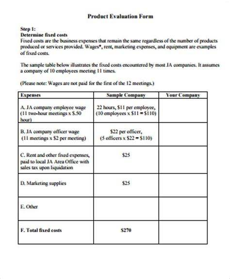 product evaluation form 12 evaluation form sles sle templates