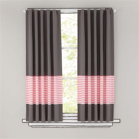 stripe curtain panel 63 quot new school curtain panel pink stripe