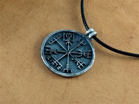 Handmade Compass - silver vegvisir pendant viking jewelry handmade compass