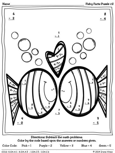 math skills coloring pages fishy facts color by the code math puzzle printables