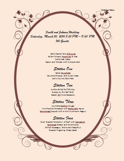 Catering Menu Template Microsoft Word Templates Free Catering Menu Templates For Microsoft Word