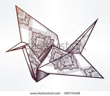 What Does An Origami Crane Symbolize - origami ornate bird paper crane stylized triangle