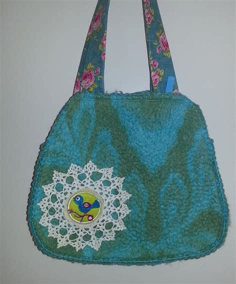 Coffee Slemp Crochet Bag Tas Rajut tas oude deken met gehaakt kleedje en applicatie liekje and met