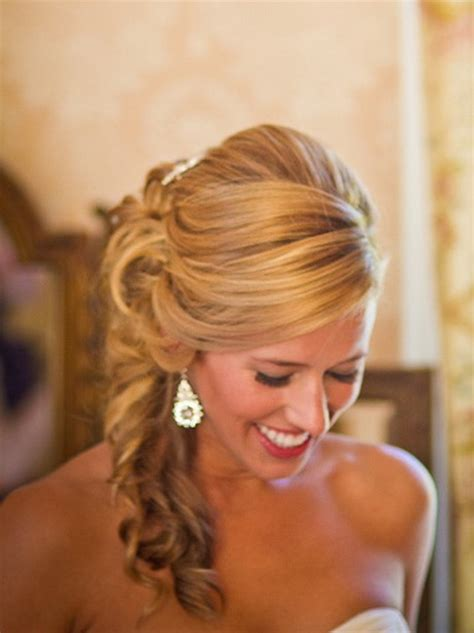 Wedding Hairstyles Hair To The Side by Side Swept Wedding Hair