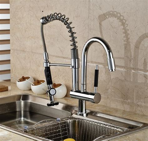 2018 luxury chrome brass kitchen faucet dual sprayer