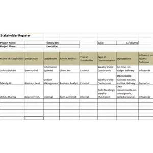 Stakeholder List Template Example Of A Stakeholder Register And A Stakeholder