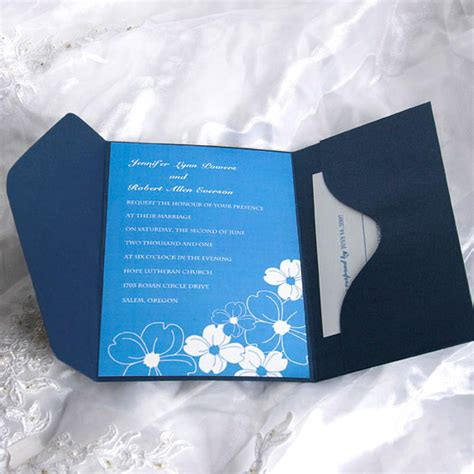 blue wedding invitations blue and white vision pocket wedding invitation ukps042
