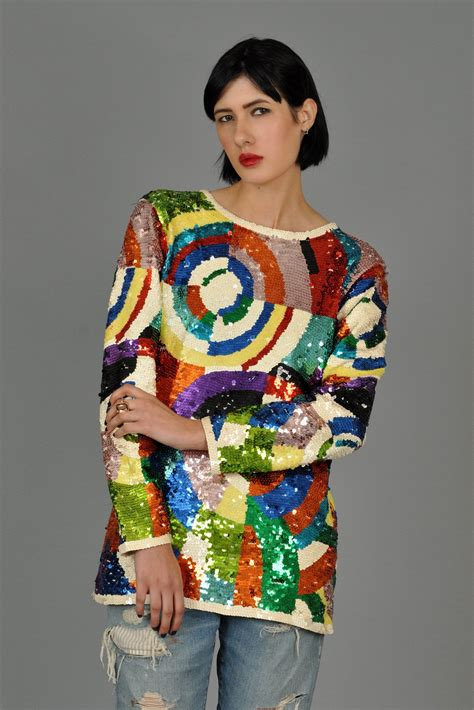 65180 Rainbow Tunic 1 graphic delaunay rainbow sequined tunic top bustown modern