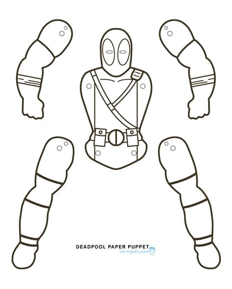 puppet template for deathpool free colouring pages