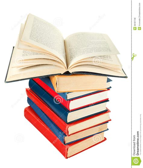 open book on top of stack of books royalty free stock