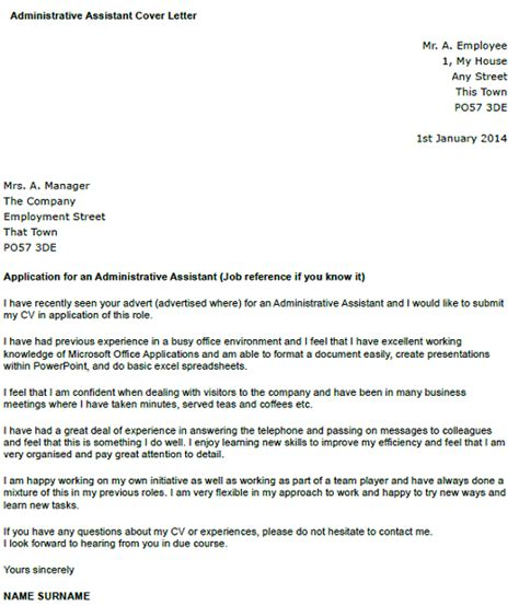 cover letter for office administrator administrative assistant cover letter exle icover org uk