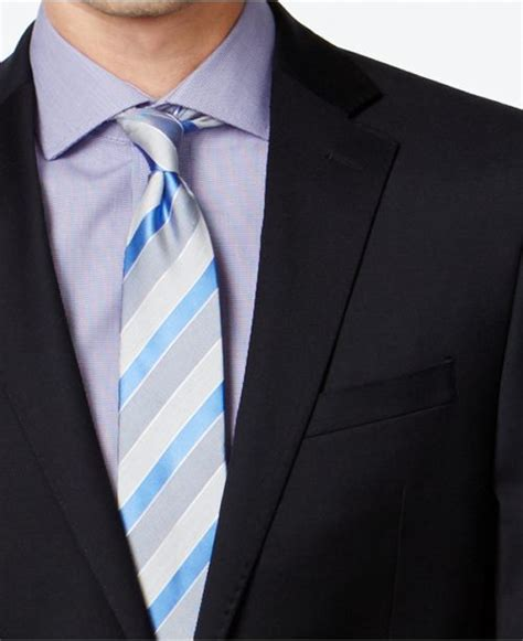 calvin klein navy solid slim  fit suit suits tuxedos men macys