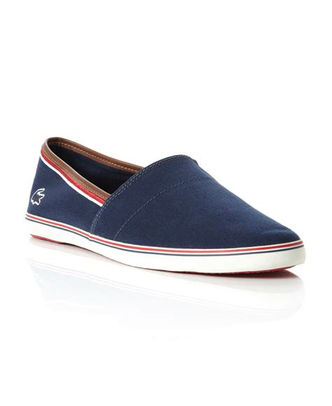 lacoste aimard slip on casual shoes in blue for navy