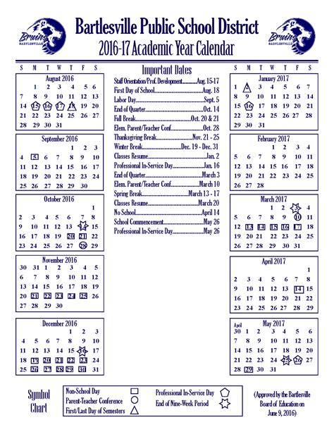 Bps Calendar 2016 2017 Academic Year Calendar Revised Bartlesville