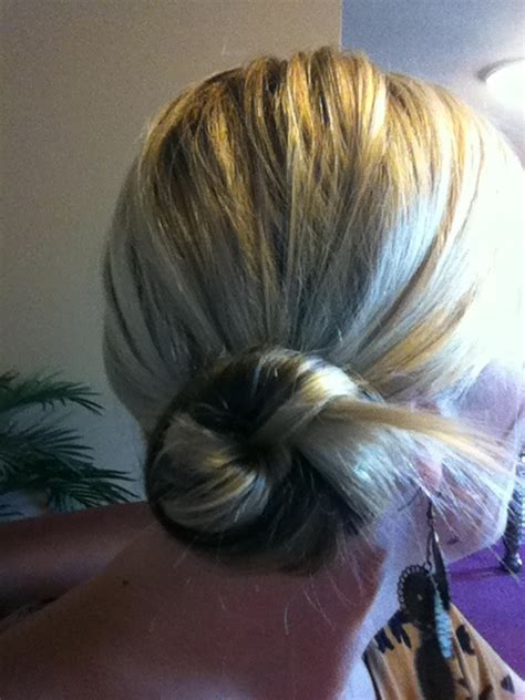hair twisted around front of head bun 2 second no mirror messy side bun pull hair to side and