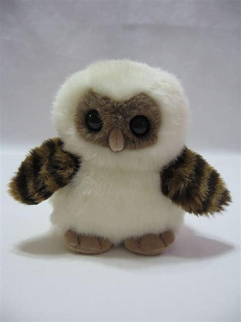 owl stuffed animal aurora owl plush stuffed animal toy white brown striped