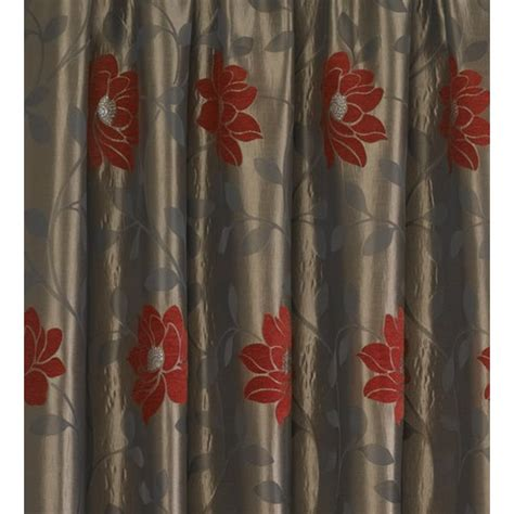 floral ready made curtains uk sundour carnaby red floral pencil pleat ready made