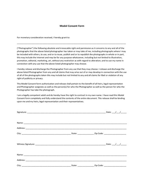 2020 Model Consent Form - Fillable, Printable PDF & Forms