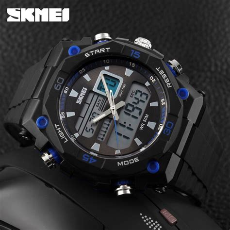 Skmei Jam Tangan Analog Pria 9149cl Black Blue New Sale skmei jam tangan sporty digital analog pria ad1092 black blue jakartanotebook