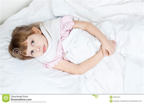 lied in bed the girl lies in bed royalty free stock photography