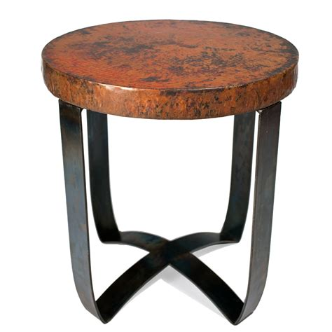 round strap end table in fire finish with hammered copper top