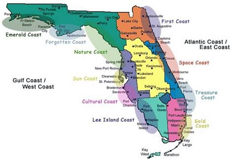 florida map of beaches a map that explains all the coasts nicknames florida