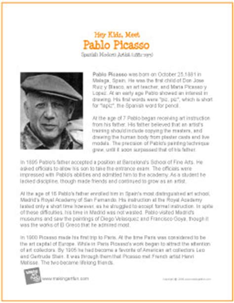 artist biography com pablo picasso printable biography
