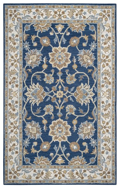 navy and ivory rug rizzy rugs navy ivory traditional tufted area rug ashlyn al2823